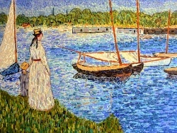 Photo dessins et illustrations, Argenteuil - La Seine à Argenteuil,influence Edouard Manet.Mosaïque en émaux de Briare.