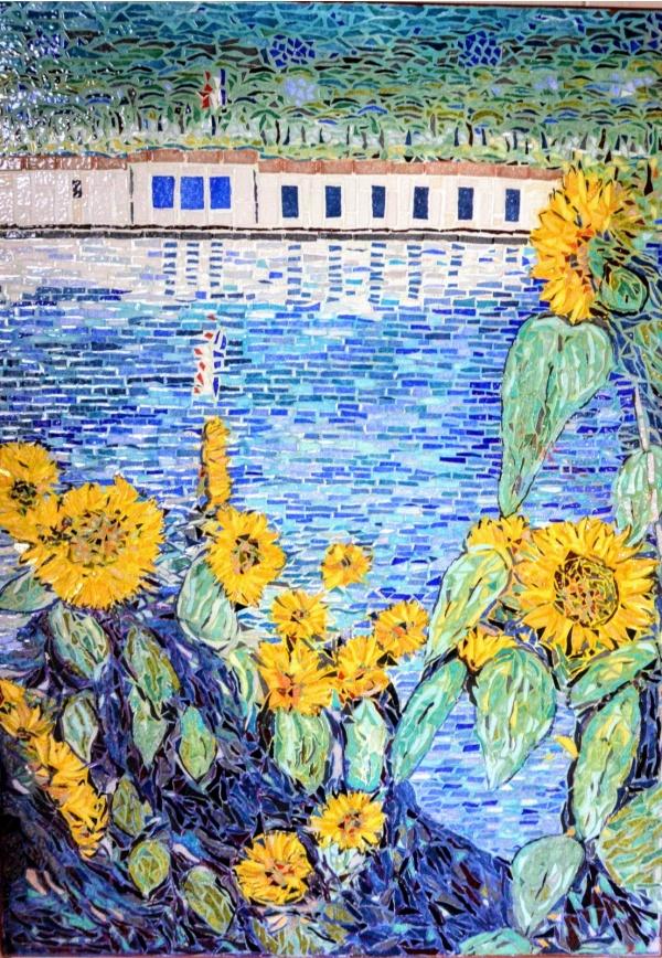 Tournesols au bord de la Seine Influence Gustave Caillebotte.