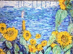 Photo dessins et illustrations, Argenteuil - Tournesols au bord de la Seine Influence Gustave Caillebotte.