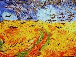 Photo dessins et illustrations, Auvers-sur-Oise - Le champ de blé aux corbeaux,du désespoir aux couleurs de l'infini.
