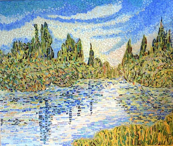 La Seine à Vétheuil. Mosaïque en émaux de Briare,influence Claude Monet.