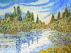 Photo dessins et illustrations, Vétheuil - La Seine à Vétheuil. Mosaïque en émaux de Briare,influence Claude Monet.