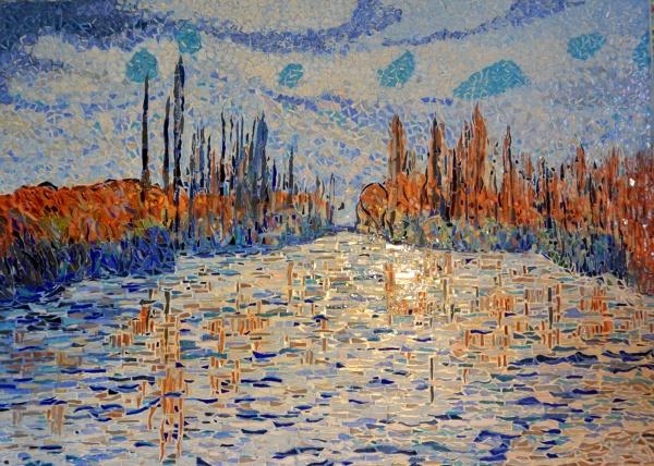 Glaçons sur la Seine.Influence Claude Monet.Mosaïque en émaux de Briare
