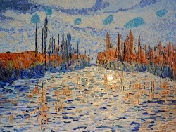 Photo dessins et illustrations, Vétheuil - Glaçons sur la Seine.Influence Claude Monet.Mosaïque en émaux de Briare