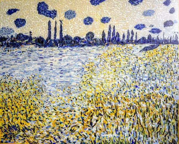 La Seine à Vétheuil, île aux fleurs 54 x 66 cm.mosaïque émaux de Briare.