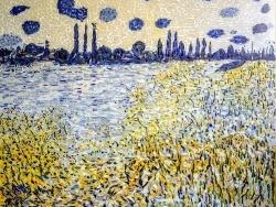 Photo dessins et illustrations, Vétheuil - La Seine à Vétheuil, île aux fleurs 54 x 66 cm.mosaïque émaux de Briare.
